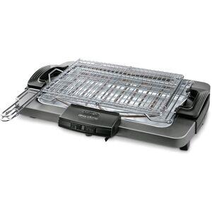 DeLonghi BQ80.X - Barbecue Elettrico, 2450 W, 3 Livelli di Potenza, 41x28 cm