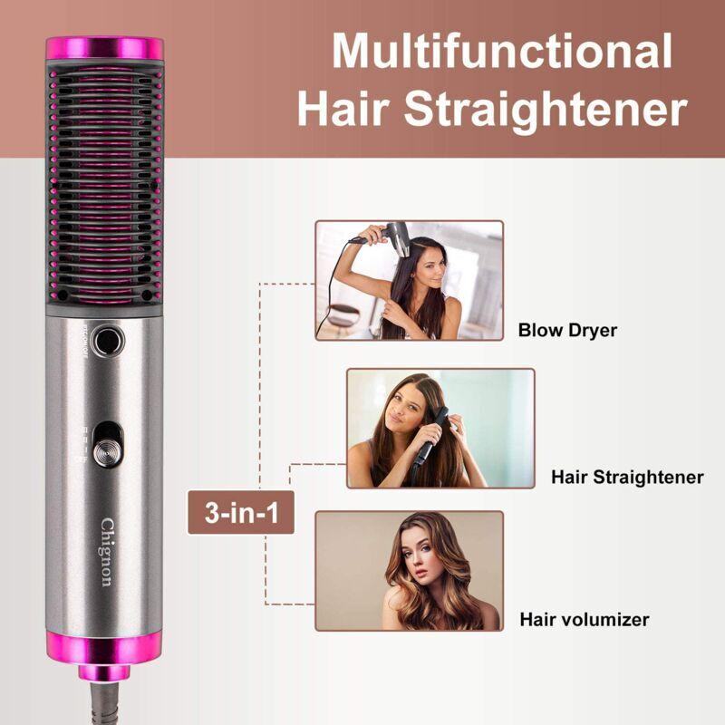 zencocco piastra per capelli spazzola lisciante 3in1 elettrica, volumizzante 3 velocità - zencocco