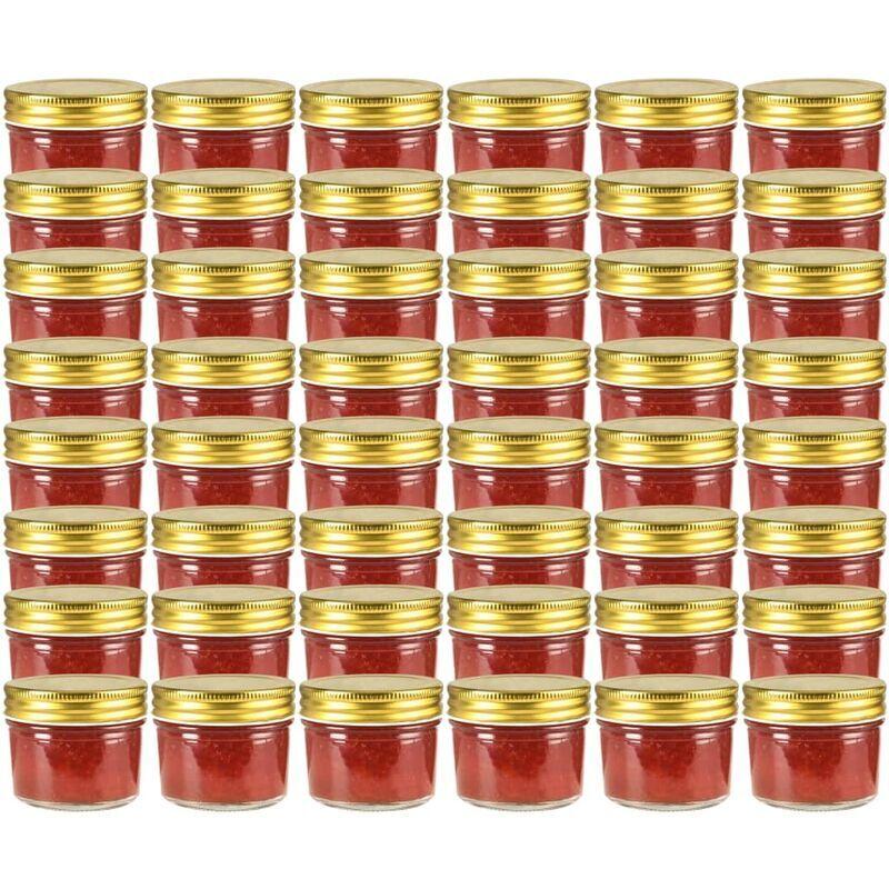 YOUTHUP Vasi per Marmellata in Vetro Coperchio Oro 48 pz 110 ml - Oro - Youthup