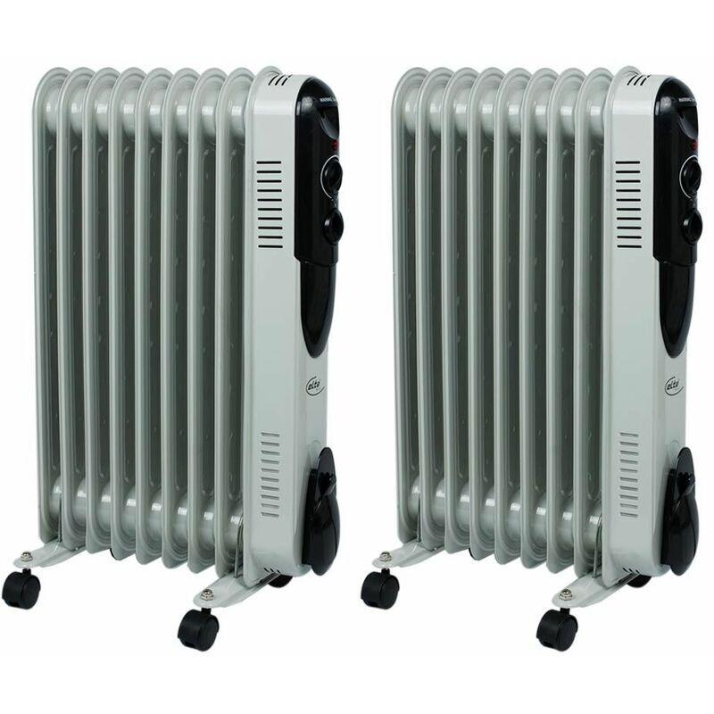etc-shop set di 2 radiatori olio stand riscaldatori termostati 3 stadi da 2000 watt riscaldatore regolabile - etc-shop