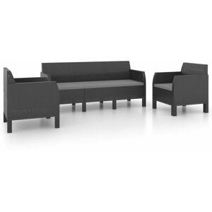 VIDAXL Set Divani da Giardino 3pz con Cuscini in PP Antracite - Antracite