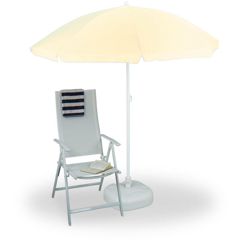 RELAXDAYS Ombrellone da giardino, spiaggia, diametro 180cm, 8 stecche, poliestere, inclinabile, giallo grigiastro
