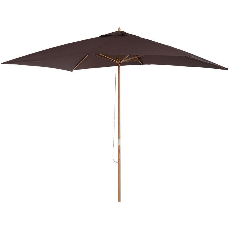 Outsunny Ombrelloni da giardino arredamento esterni ombrellone da terrazza esterno in Legno, marrone, 2x3m - Outsunny