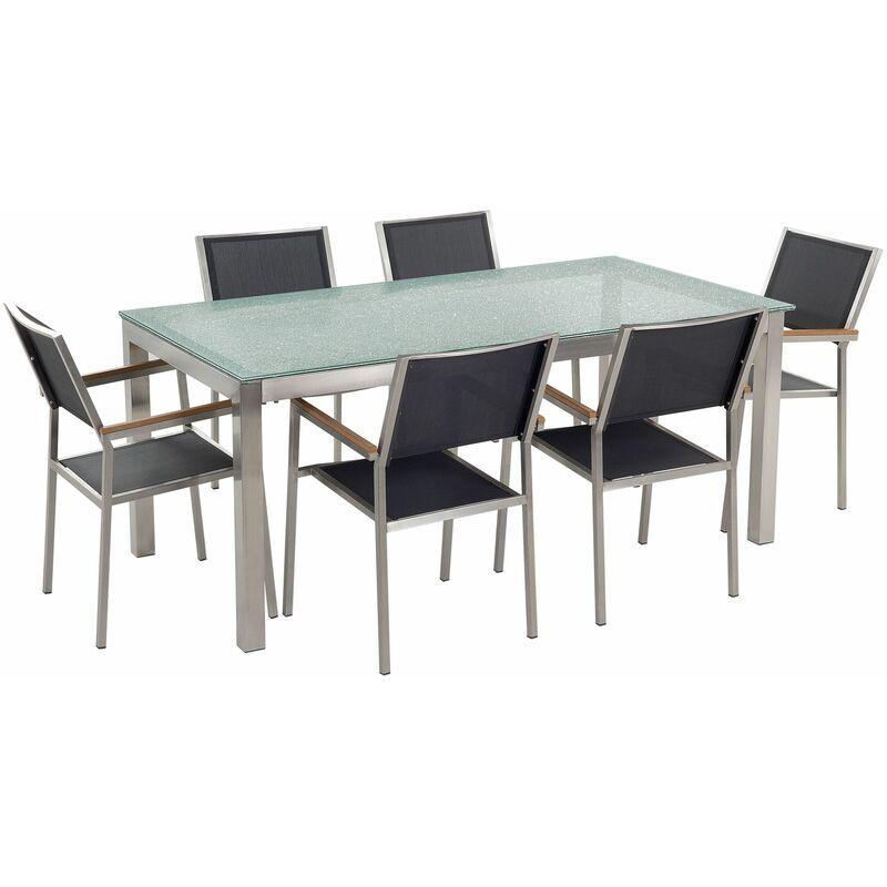 BELIANI Set da giardino a 6 posti Tavolo in vetro 180cm con sedie nere GROSSETO
