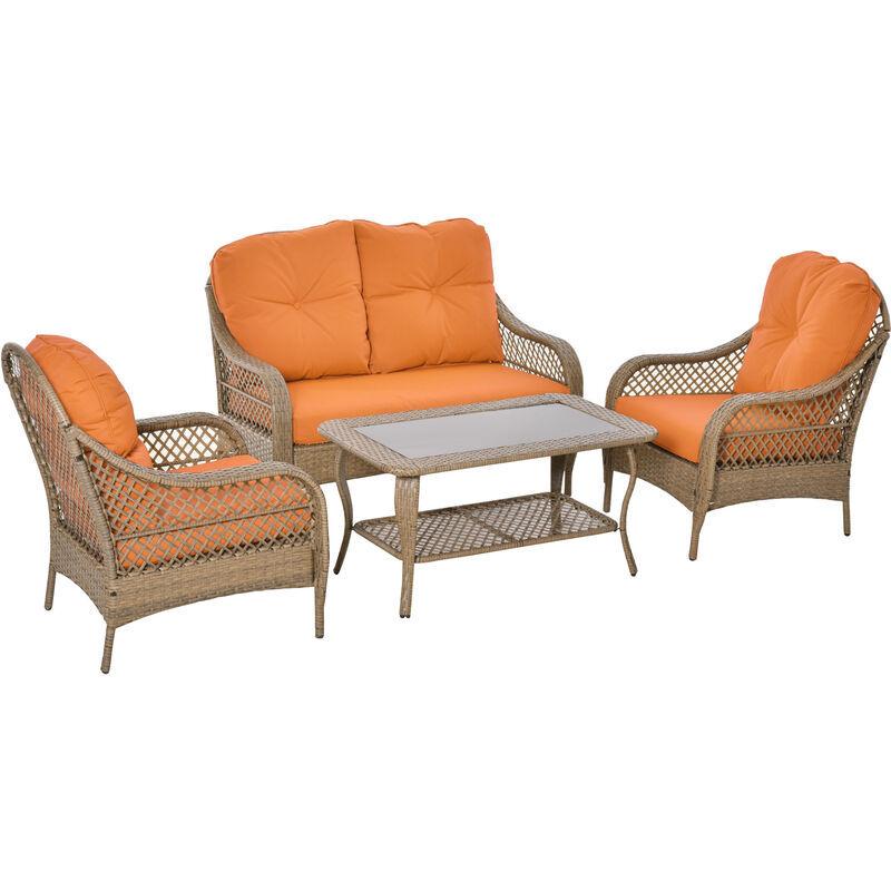 GIORDANOSHOP Set Da Giardino Divano 2 Poltrone E Tavolino In Rattan Con Cuscini Arancione