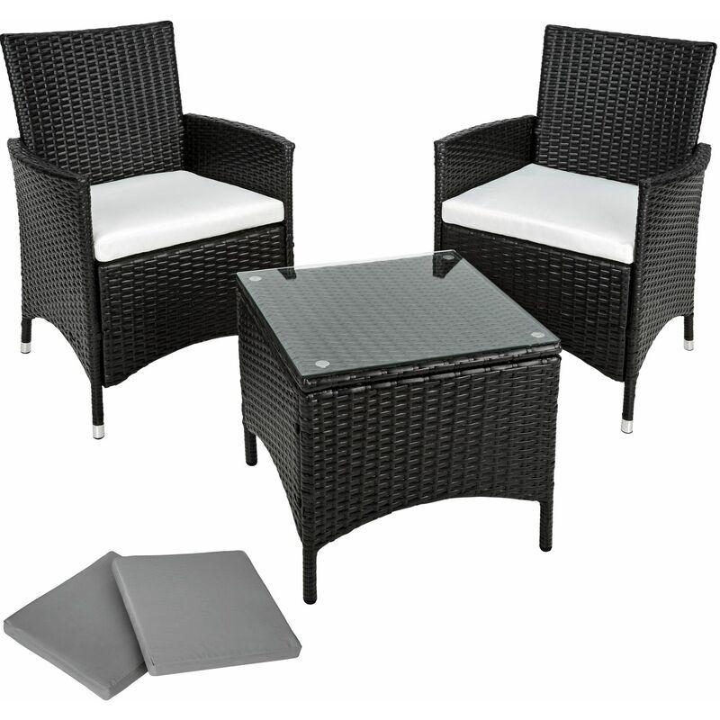 TECTAKE set da giardino in rattan e alluminio Athen, 2 sedie + tavolo - arredo giardino, mobili da giardino, set da giardino - nero