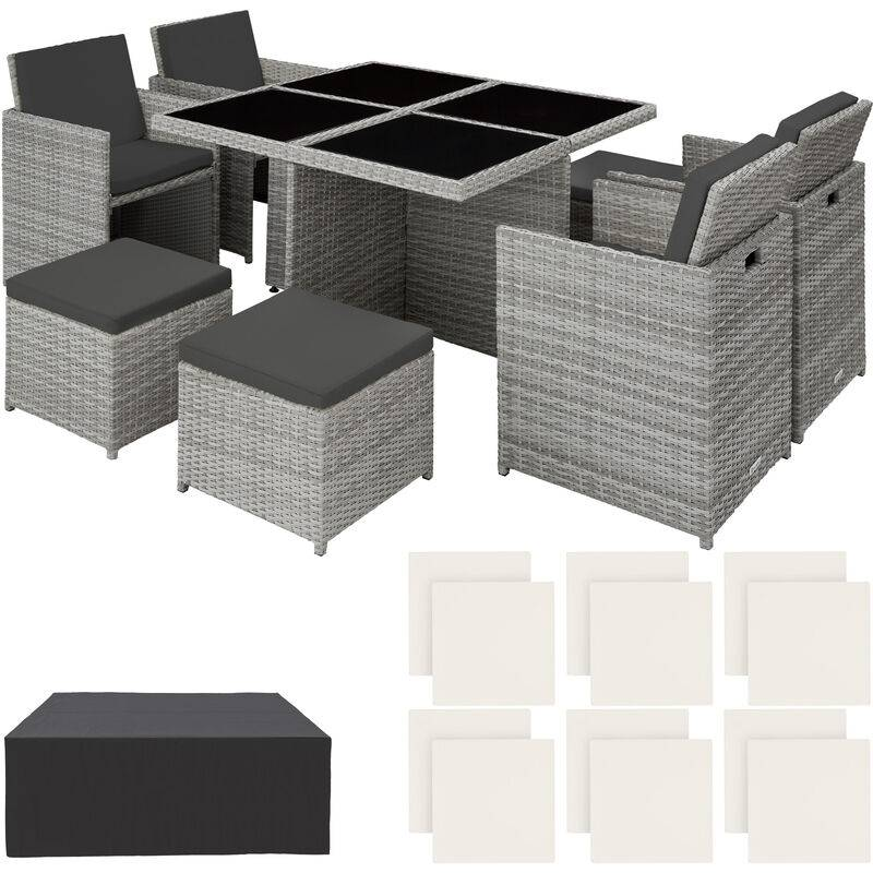 Tectake - set da giardino in rattan e alluminio Manhattan - arredo giardino, mobili da giardino, set da giardino - grigio chiaro