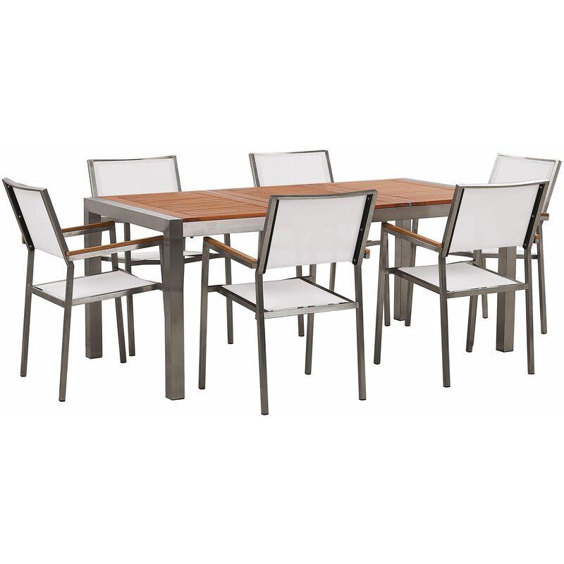 BELIANI Set da giardino tavolo in eucalipto e 6 sedie in fibra tessila bianca GROSSETO