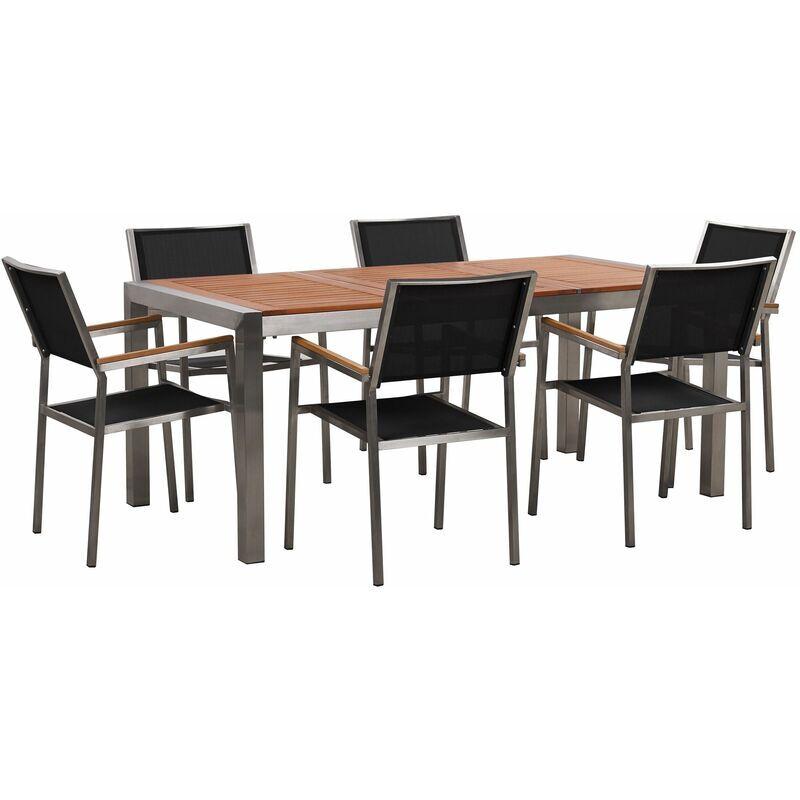 BELIANI Set da giardino tavolo in eucalipto e 6 sedie in fibra tessile nera GROSSETO