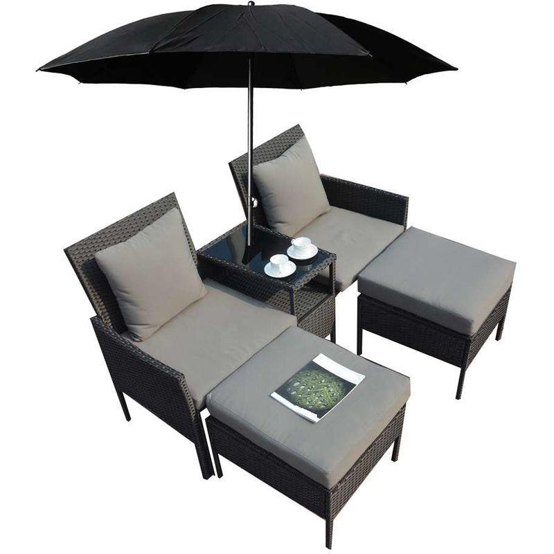 set giardino 2 posti in rattan con poggiapiedi, cuscini e ombrellone