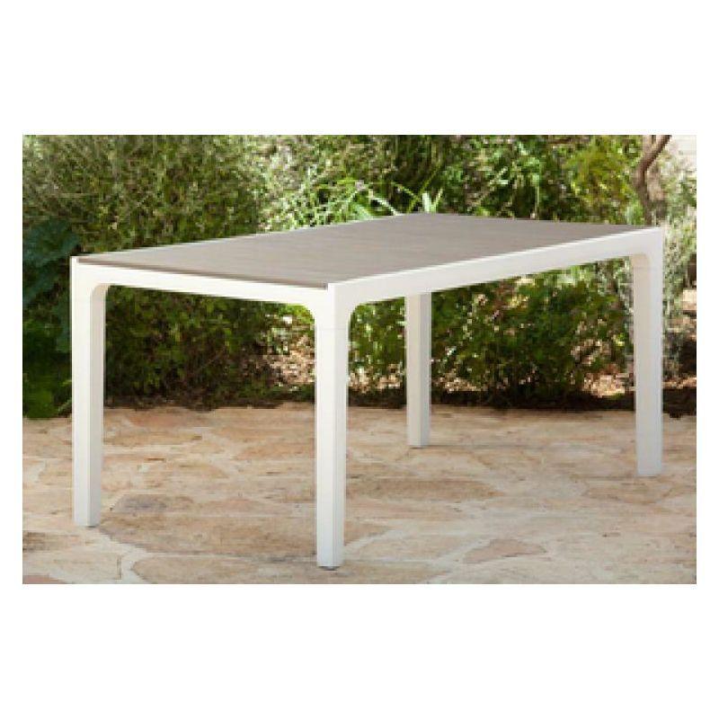 A.c. - Tavolo da giardino in resina antiurto harmony cm 160x90x74h bianco tortora
