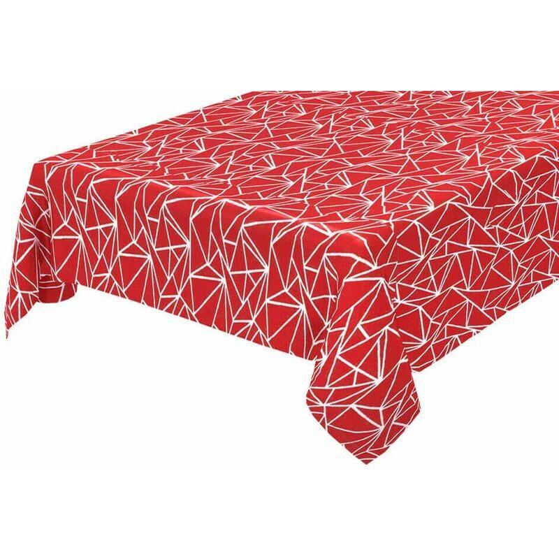 Emmevi Tovaglia Antimacchia Cucina Astratta Bordata Cotone Plastificato Proteggi Tavolo Copritavolo Rosso - 135x135 cm
