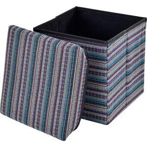 [en.casa] - Pouf pieghevole (30 x 30 x 30 cm) box salva spazio - fodera tessuto - multicolore modello 1