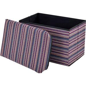 [EN.CASA] Pouf pieghevole (48 x 32 x 32 cm) box salva spazio - fodera tessuto - multicolore modello 2 - [EN.CASA]