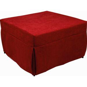 Dmora - Pouf letto, in tesssuto color rosso, cm 75x75x42