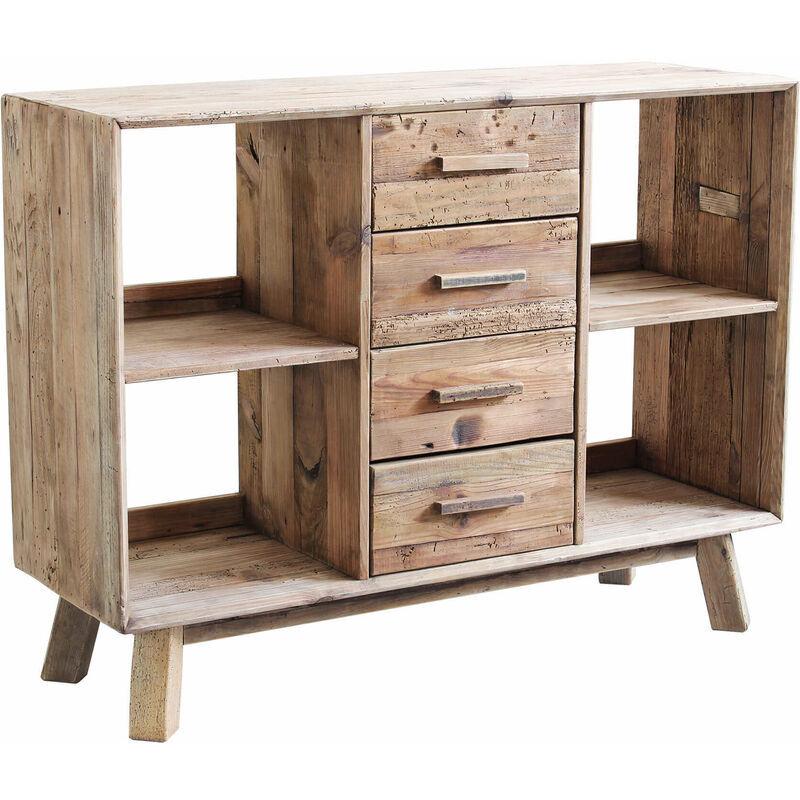 milani home - mobile credenza madia moderna, porta tv 4 cassetti, legno pino massello riciclato per arredamento salotto soggiorno sala da pranzo