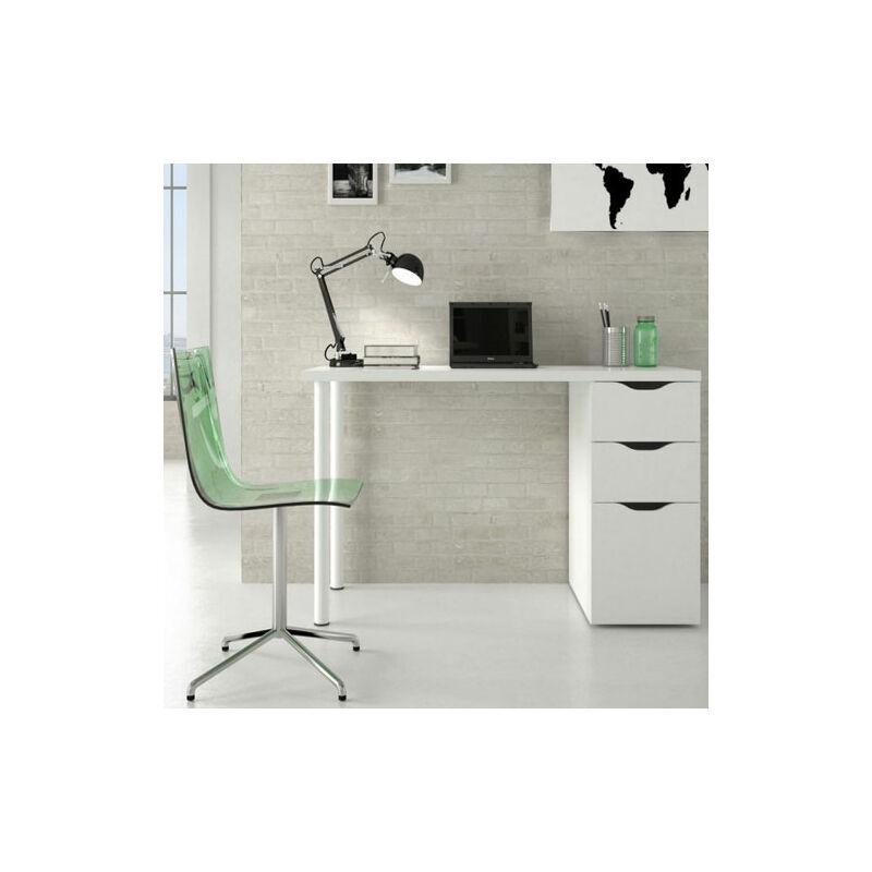 pidema scrivania ufficio bianca con due cassetti e un'anta. scrivanie porta pc per ragazzi complete di cassettiera in legno, ideale per arredare camerette e