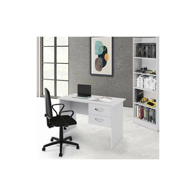 pidema scrivania ufficio bianca con due cassetti. scrivanie porta pc per ragazzi in legno, ideale per arredare camerette e studio. - pidema