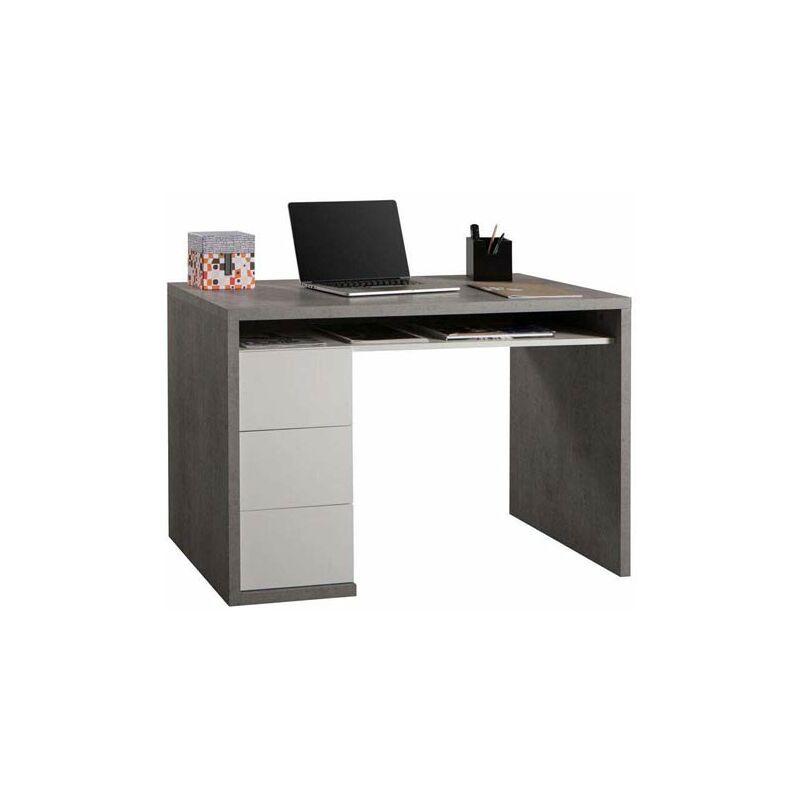 pidema scrivania ufficio cemento con tre cassetti bianco laccato. scrivanie porta pc in legno per ragazzi, ideale per arredare camerette e studio. - pidema