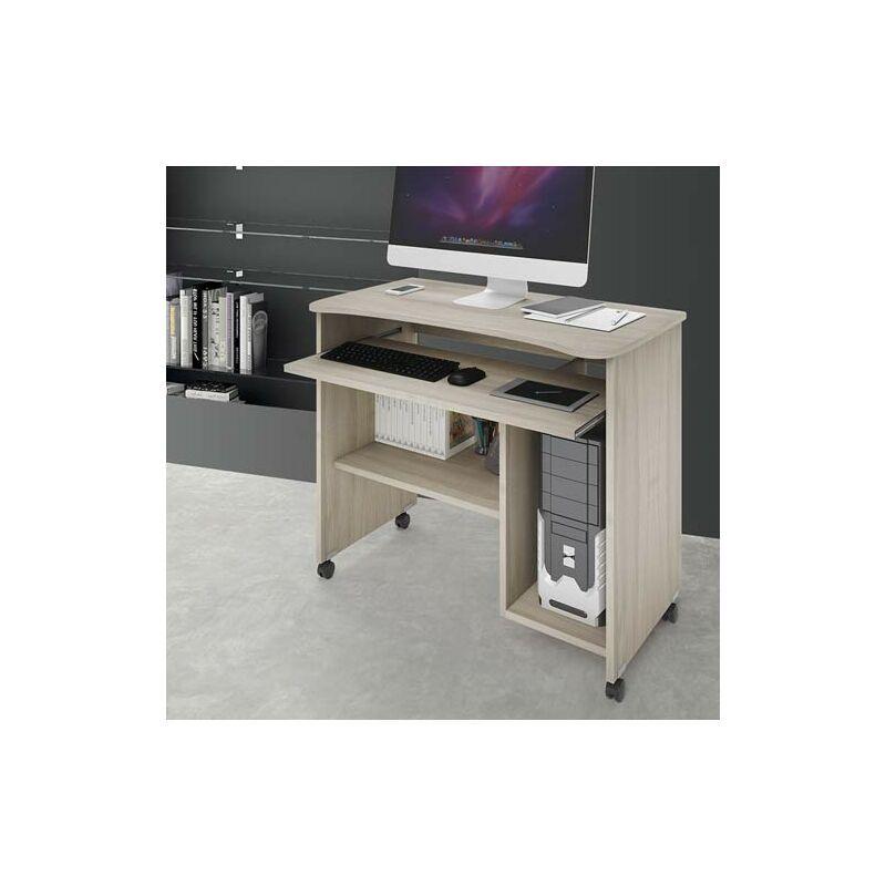 pidema scrivania ufficio porta computer con ruote e ripiano estraibile. scrivanie pc in legno olmo per ragazzi, ideale per arredare camerette e studio.