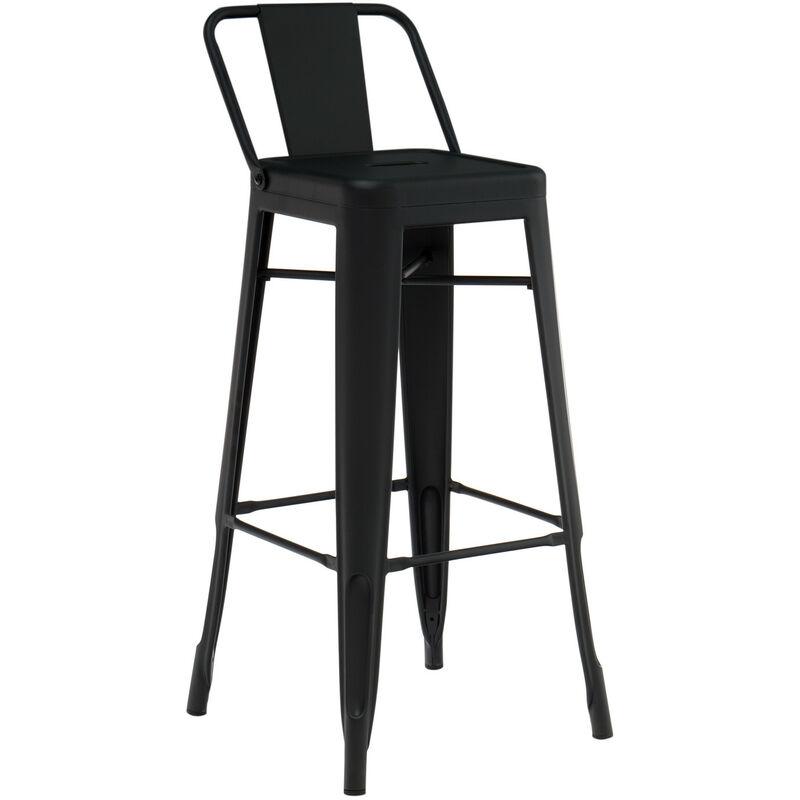 sklum sgabello alto con schienale in acciaio lix opaco nero sala da pranzo cucina bar stile industrial - sklum