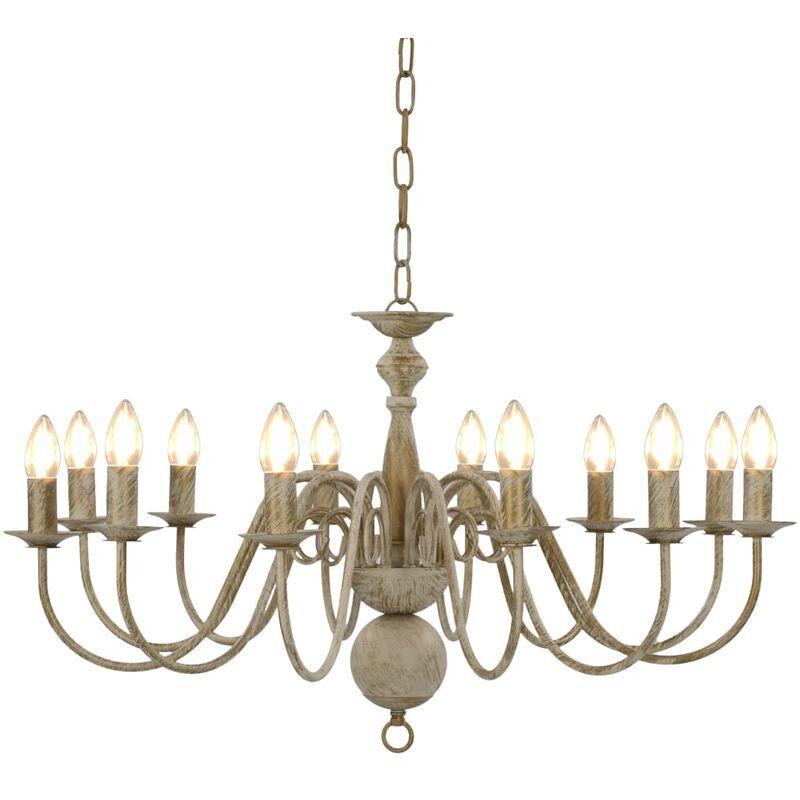 Nova - Lampadario Candelabro stile Anticato per 12 Lampadine E14 vari colori colore : Bianco