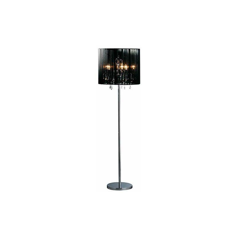 Premier PREM-2501045 Lampada da Terra, Acciaio Inossidabile Spazzolato/Voile, Nero -