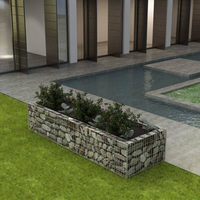 Nova - Gabbione Fioriera da Giardino in Acciaio Argento varie dimensioni dimensioni : 270x90x50