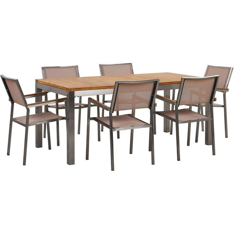 BELIANI Set da giardino tavolo in teak e 6 sedie beige GROSSETO