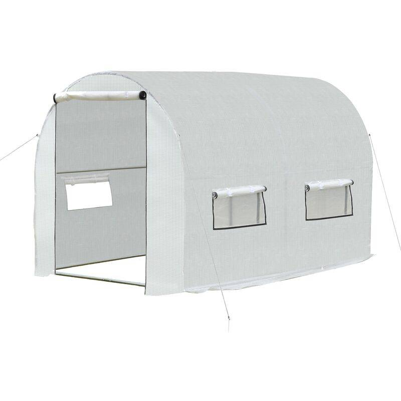 outsunny serra a tunnel per giardino e orto 2 porte, acciaio e copertura in pe - outsunny