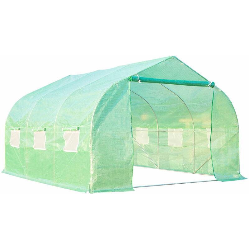 outsunny serra da giardino 3.5 x 3 x 2m serra con tetto a spiovente in pe per piante verde - outsunny