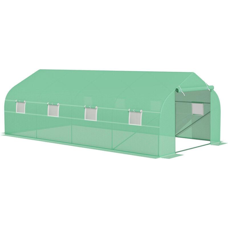 outsunny serra da giardino 6 x 3 x 2 m serra con tetto a spiovente in pe per piante verde - outsunny