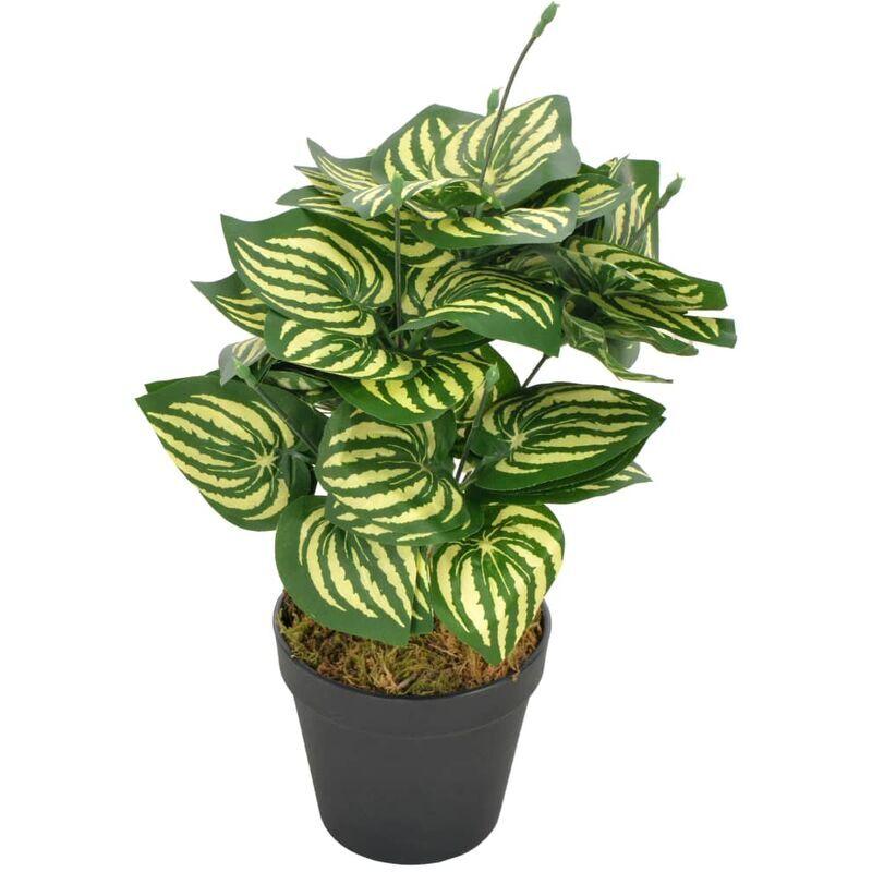 vidaxl pianta di anguria artificiale foglie con vaso verde 45 cm - multicolore - vidaxl