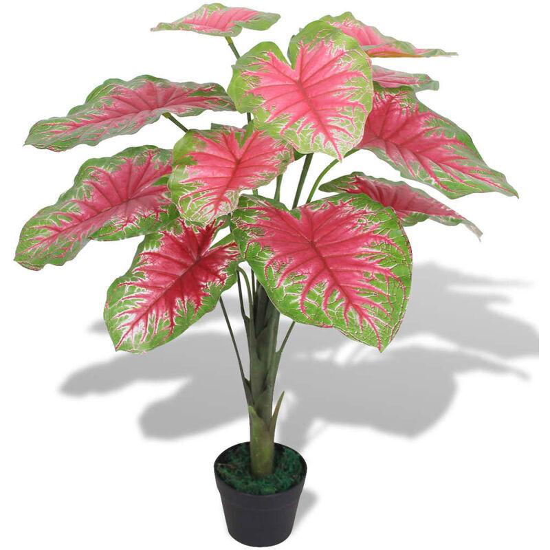 vidaxl caladio pianta artificiale con vaso 70 cm verde e rosso - rosso - vidaxl