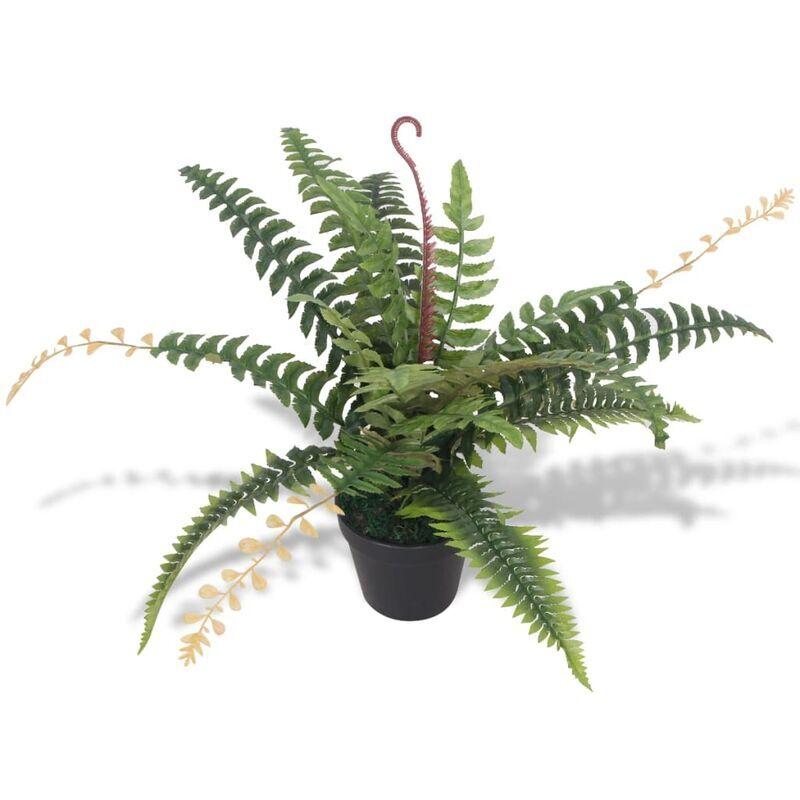 vidaxl felce pianta artificiale con vaso 50 cm verde - multicolore - vidaxl