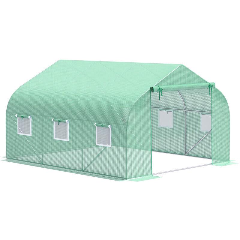 miozzi serra da giardino 3.5x3x2m serra con tetto a spiovente in pe per piante verde miozzi