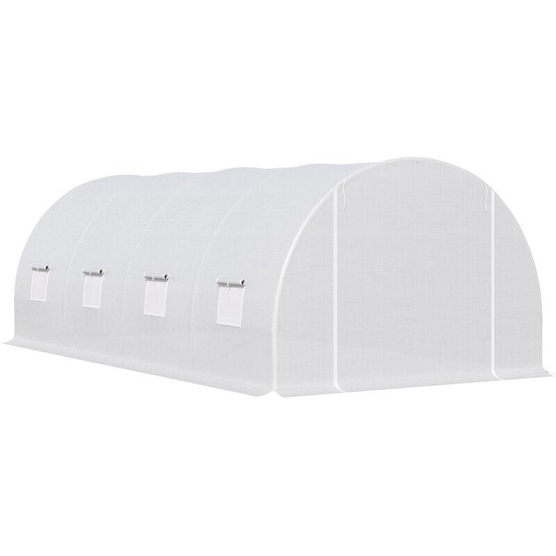 miozzi serra da giardino a tunnel per piante in pe con tubi di ferro bianco 600x300x200 cm miozzi