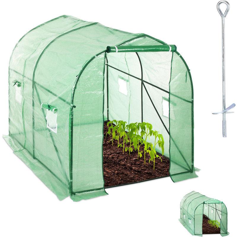 relaxdays - serra in telo, percorribile, con finestra & porta, giardino, ad incastro, a tunnel, hlp 200x200x300 cm, verde
