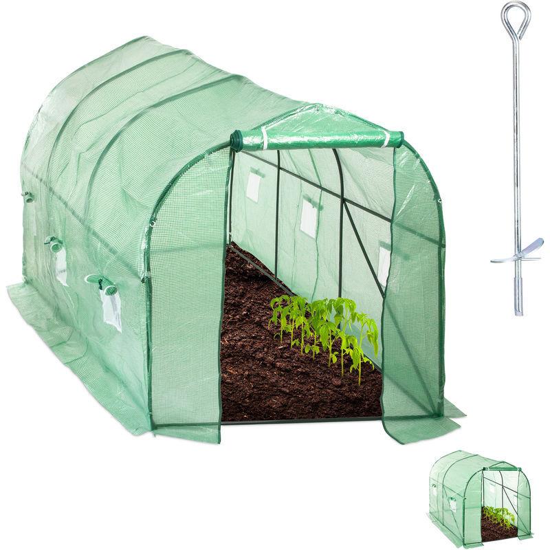 relaxdays - serra in telo, percorribile, con finestra & porta, giardino, ad incastro, a tunnel, hlp 200x200x450 cm, verde