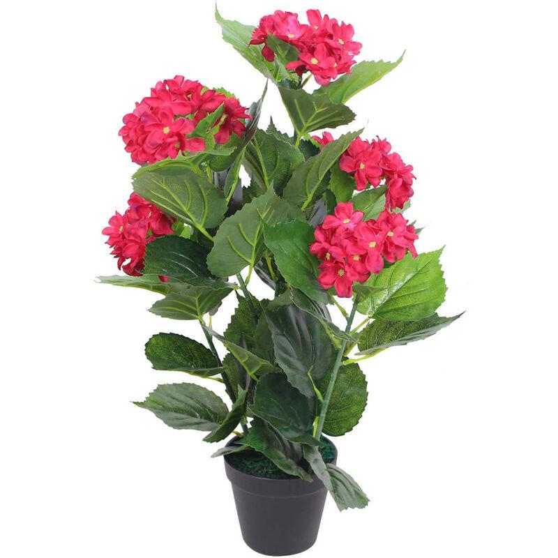 vidaxl ortensia pianta artificiale con vaso 60 cm rossa - multicolore - vidaxl