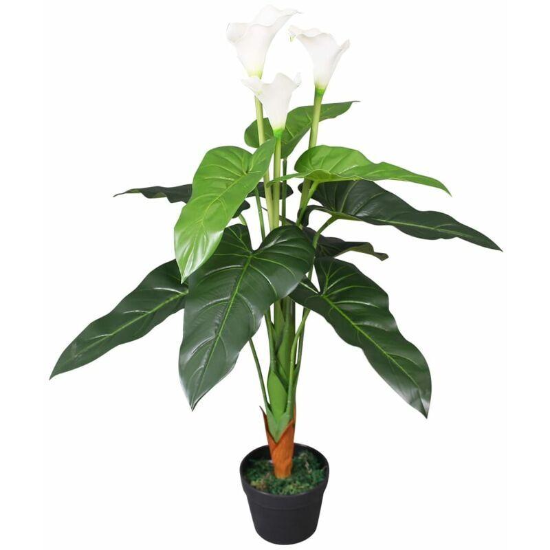 vidaxl calla lily pianta artificiale con vaso 85 cm bianco - bianco - vidaxl