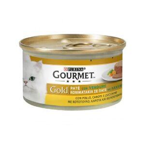 Gourmet Gold Gatto, Patè Lattina 85gr - Verdure, con Pollo, Carote e Zucchine