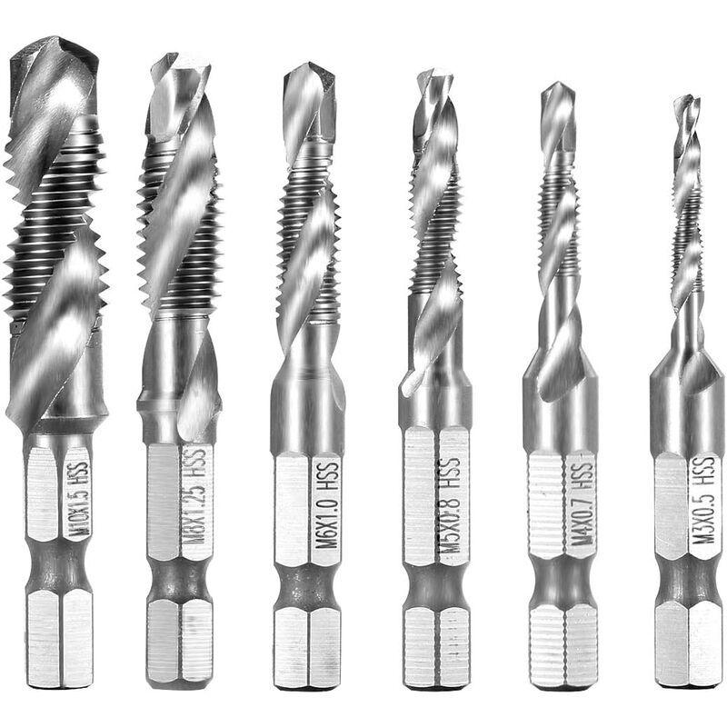 langray - 6 pezzi punte trapano maschi countersink tap drill bit hss imposta attacco filettare e svasare l'imboccatura innesto esagonale per legno