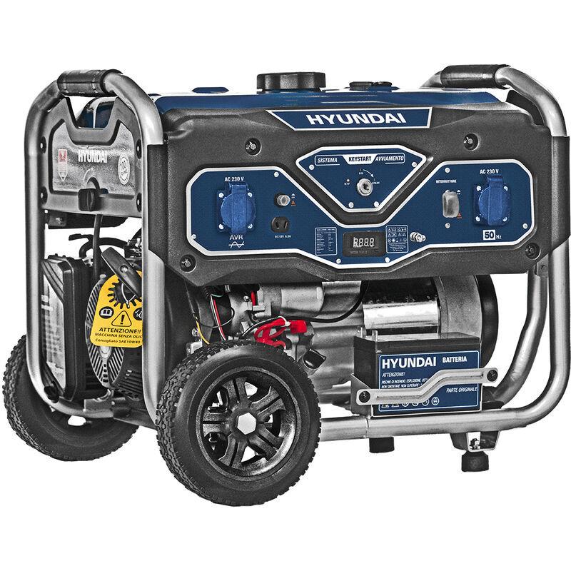 hyundai generatore di corrente a benzina 4t 6.5 hp con ruote 15 lt avr hyundai 65000