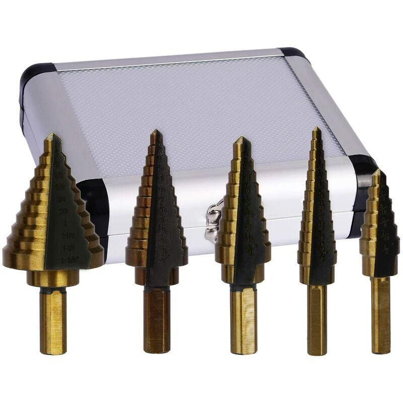 langray hss step drill bit set di utensili elettrici per rivestimento in cobalto alpen, 5 pezzi