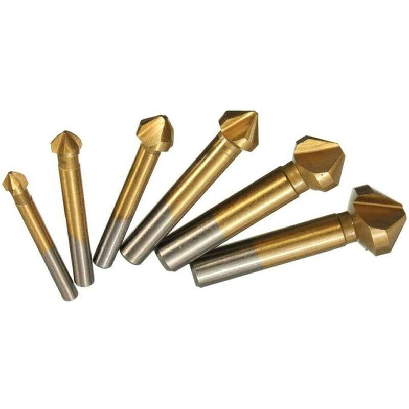 langray set di 6 frese a 90 ° set di frese in hss, rivestimenti in titanio? 6.3-20.5 mm la punta per smussatura per smusso contiene un alesatore