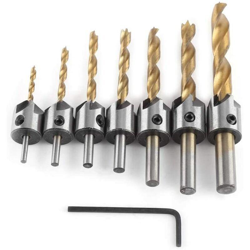 langray - punte da trapano in acciaio con gambo tondo per fresa conica per smussatura di carpenteria con chiave esagonale (3-10mm (3/4/5/6/7/8 /
