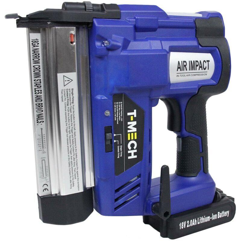 t-mech - pistola sparachiodi graffettatrice pneumatica 2 in 1 18v senza fili con batteria lunga durata