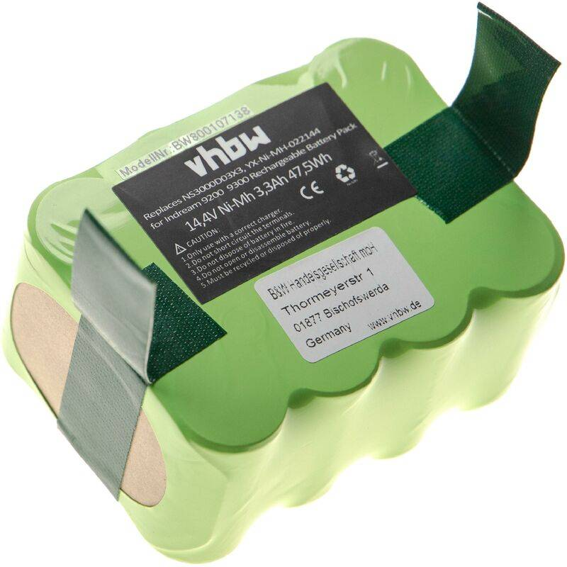 vhbw nimh batteria 3300mah (14.4v) per aspirapolvere robot, home cleaner, robot di casa zebot z320 come yx-ni-mh-022144, ns3000d03x3.