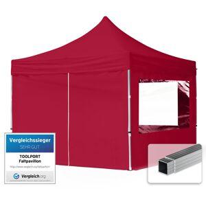 TENDAPRO.IT Gazebo Pieghevole Giardino 3x3m - 4 laterali Alluminio PES300 Telo 100% Impermeabile Padiglione Mercati Sagre rosso